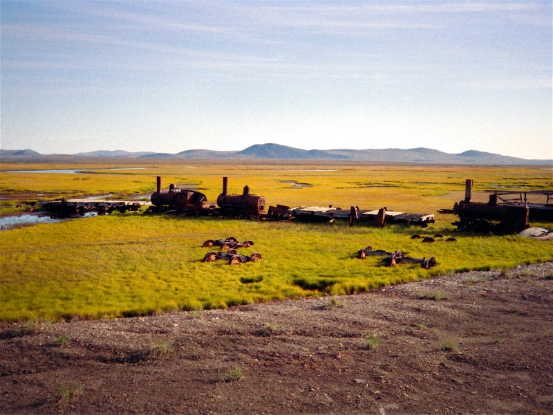 Gold Rush Era Train on the beach east of Nome