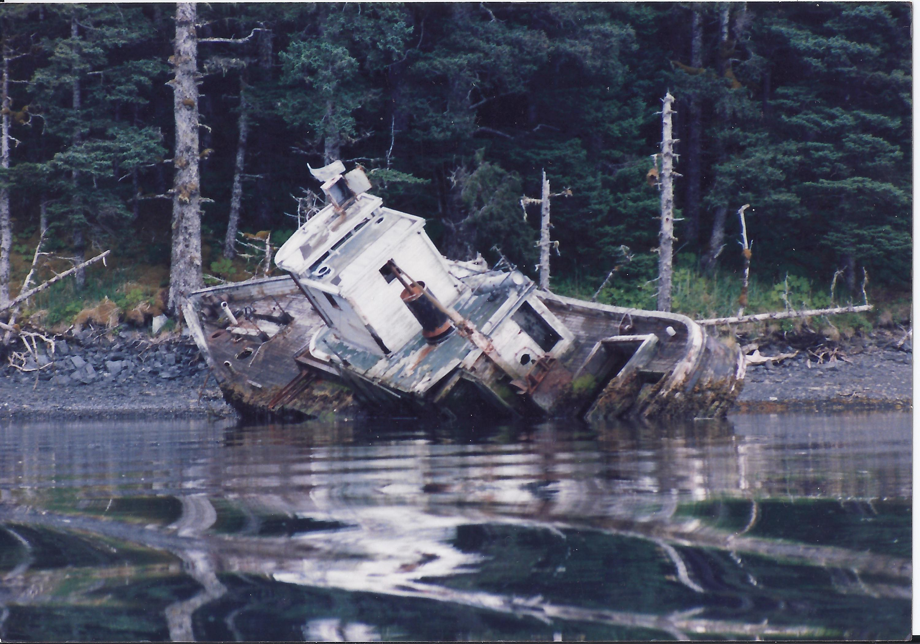 Unknown wreck on Afognak Island compliments of Peter Thompson