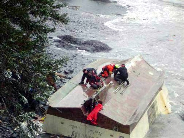 Crewman being rescued from F/V Velocity February 9, 2008 U S Coast Guard photo
